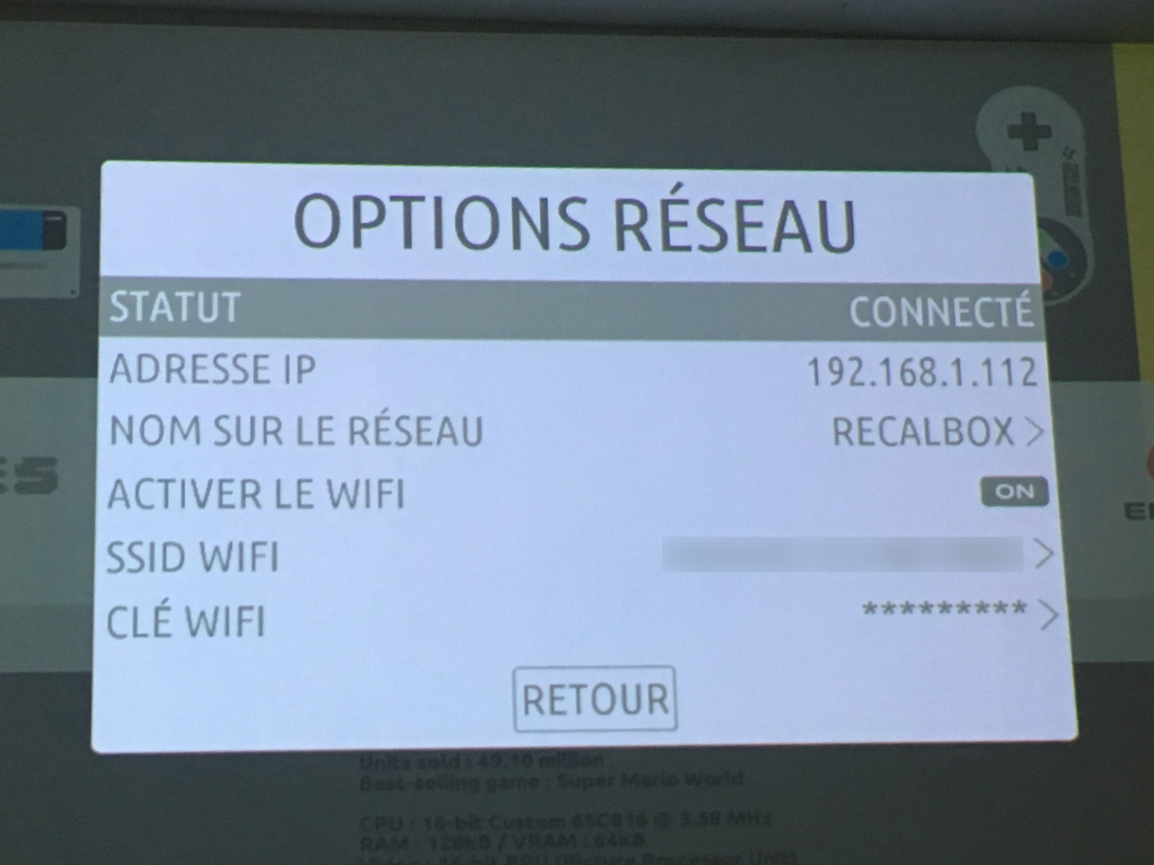 recalbox menu wifi