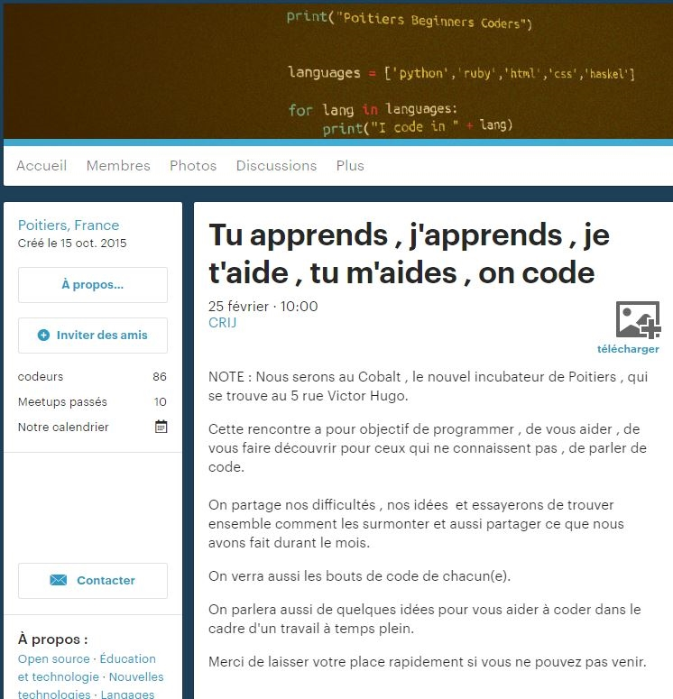 Tu apprends, j'apprends, je t'aide, tu m'aides, on code